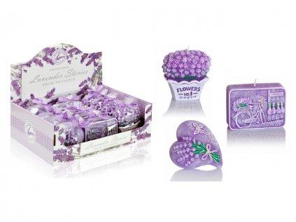 Sviečka aromatická lavender stories - kytica, mydielko, srdce