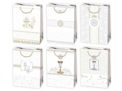 Darčekové tašky náboženské motívy, biele tašky so zlatým a strieborným motívom. Tašky vhodné prvé sväté príjímanie, tašky na birmovku. Určené na rýchle balenie darčekov.