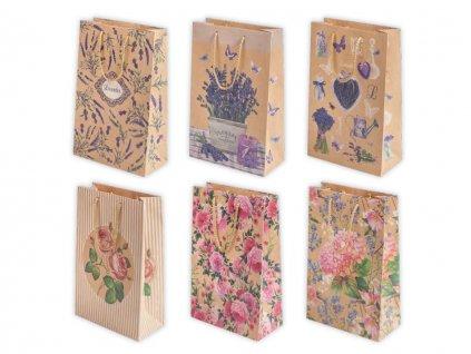 """Darčeková taška """"natur"""" Kvety - veľkosť F5K"""