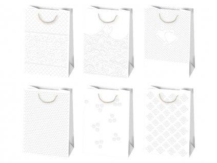 Svadobné darčekové tašky, biele tašky so vzorom, svadobné tašky, tašky na svadbu.
