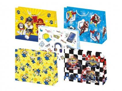Darčekové tašky detské, taška pre deti, detský motív, farebné tašky. Zvierací záchranari, kreslení hrdinovia, ovocníčkovia / mimoni, formule, kreslené mobily / sluchádlá / okuliare / šiltovky.