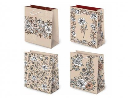 """Darčeková taška """"natur"""" Grafika ruže - veľkosť F5K"""