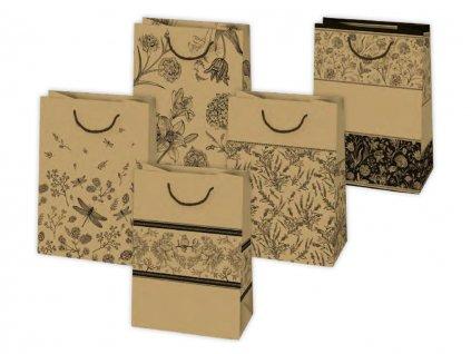 """Darčeková taška """"natur"""" kvety - veľkosť F9K"""