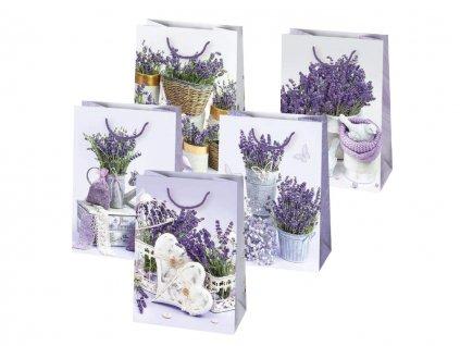 Darčeková taška s levanduľovým motívom, levanduľa, kytice levandule, levanduľa v košíku, levanduľa v črepníku, dekorácie srdce, motýľ, vtáčik.
