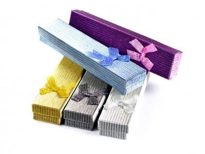 Darčeková krabička na perá s mašľou - perleťová