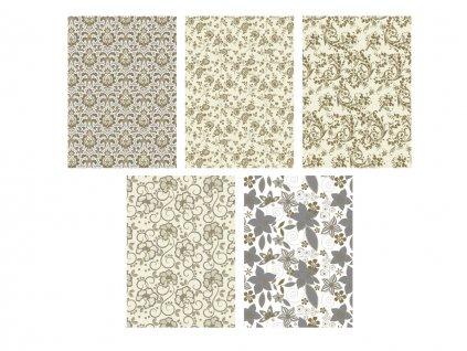 """Baliaci papier v rolke """"Zlatá a strieborná farba"""" Kvety a ornamenty"""