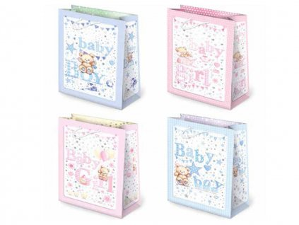 Darčeková taška k narodeniu dieťaťa. Ružová farba, modrá farba, biela farba. Detský motív, kreslené obrázky. Určené na rýchle balenie darčekov pre bábätko, taška k narodeniu dievčatka, taška k narodeniu chlapčeka, taška k narodeniu detí, taška k narodeniu dvojičiek.