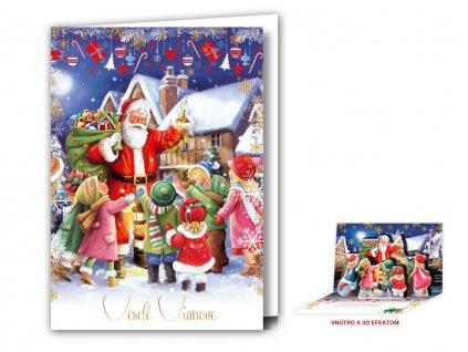 Vianočný pozdrav s 3D modulom - Santa