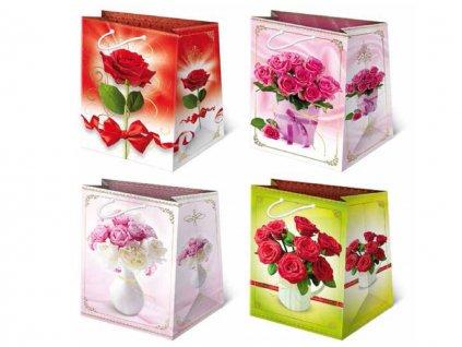 Kvetinové darčekové tašky - kytica červených ruží vo váze, biele ruže/ružové ruže vo váze, ružové ruže vo váze, červená ruža.