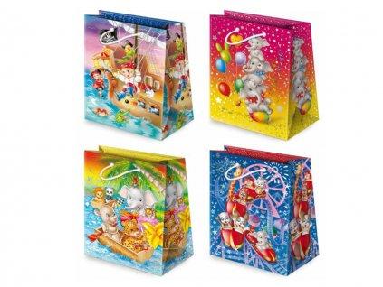 Darčekové tašky detské, taška pre deti, detský motív, farebné tašky. Kreslené obrázky. Piráti na lodi, kreslené slony s balónmi, kreslené zvieratká na lodi, kreslené zvieratká na kolotoči.
