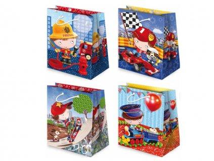 Darčekové tašky detské, taška pre deti, detský motív, farebné tašky. Kreslené obrázky. Záchranar - hasič, železničiar, chlapec na skateboarde, pretekár na formule.