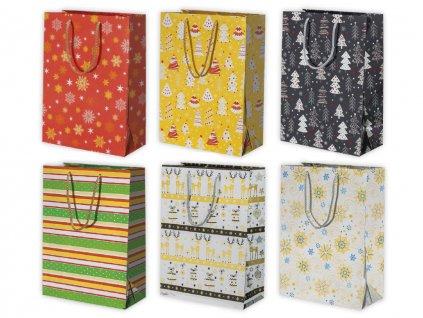 """Vianočná darčeková taška """"metalická"""" Grafika - veľkosť F5LX"""