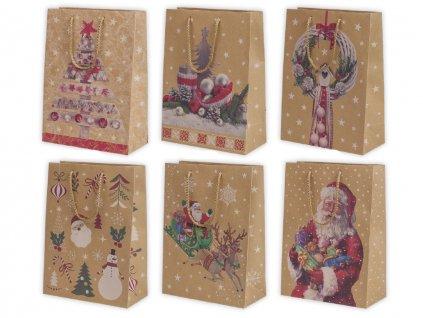 """Vianočná darčeková taška """"natur"""" Santa - veľkosť F5K"""