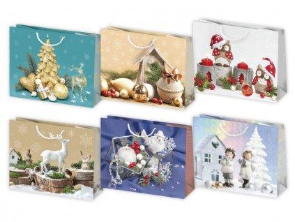 Vianočná darčeková taška Dekorácie - veľkosť F6