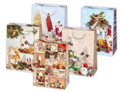 Vianočná darčeková taška Dekorácie - veľkosť F10