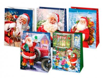 Vianočná darčeková taška Santa - veľkosť F17