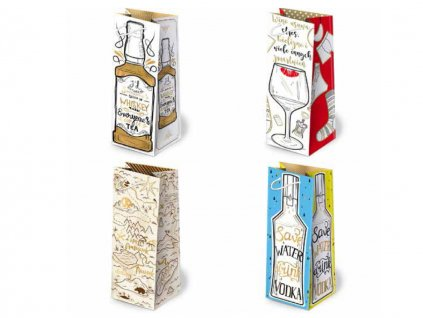 Darčekové tašky na alkohol, darčekové tašky na víno, darčekové tašky na fľaše, tašky pre mužov. Mix dizajnov a mix farieb - bordová taška, modrá taška, čierna taška, fialová taška, zlatý motív.