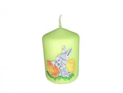 Sviečka valec zelený - zajačik a vajíčka