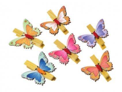 Veľkonočná dekorácia štipec 6ks - motýle