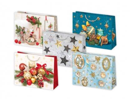 Vianočná darčeková taška Ozdoby - veľkosť F8