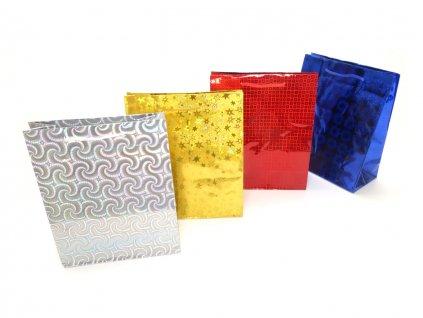 Holografická darčeková taška. Strieborná taška, zlatá taška, červená taška, modrá taška, tašky s hologramom.