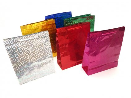 Holografická darčeková taška. Modrá taška, zlatá taška, zelená taška, strieborná taška, červená taška, ružová taška, tašky s hologramom.