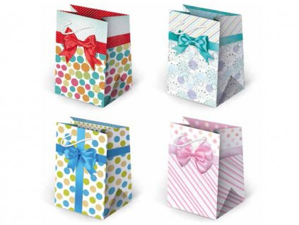 Darčekové tašky s mašľou, taška s mašľou, taška papierová s mašľou mix motívov, mix farieb.
