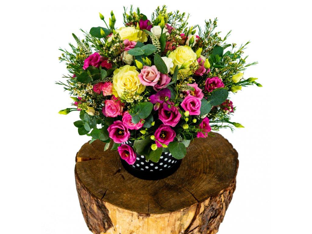 Velký přírodní Flowerbox s Růžemi a Lisianthusu