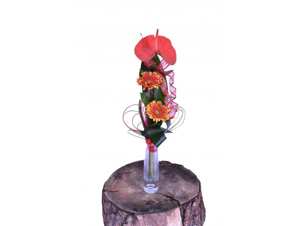 Menší kytice Anthurium a Gerbery