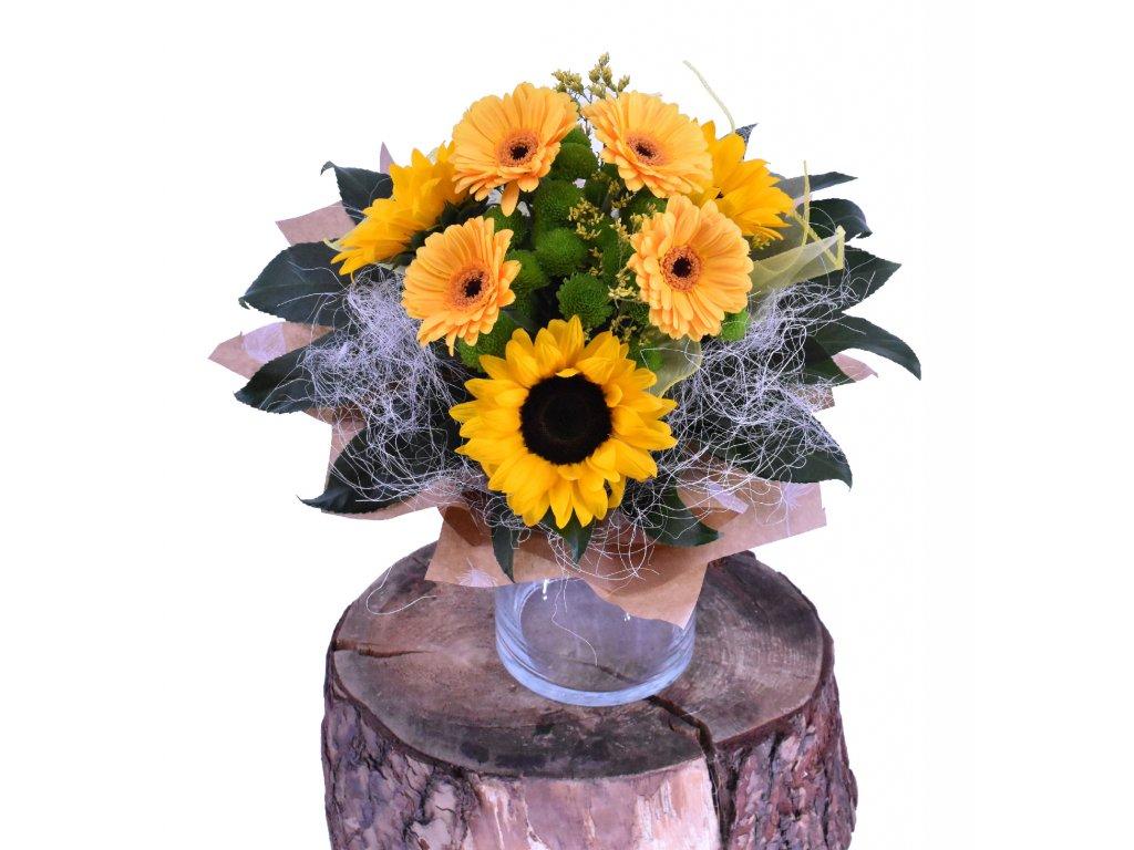Přírodní kytice se Slunečnicemi a Gerbery