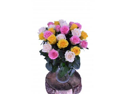 Kytice Mix barevných Růží, 70cm