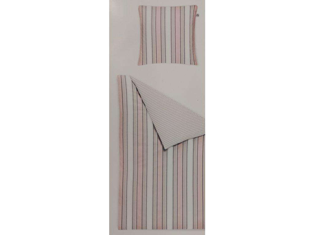 Povlečení ložní mako satén pruhy růžovo-béžové