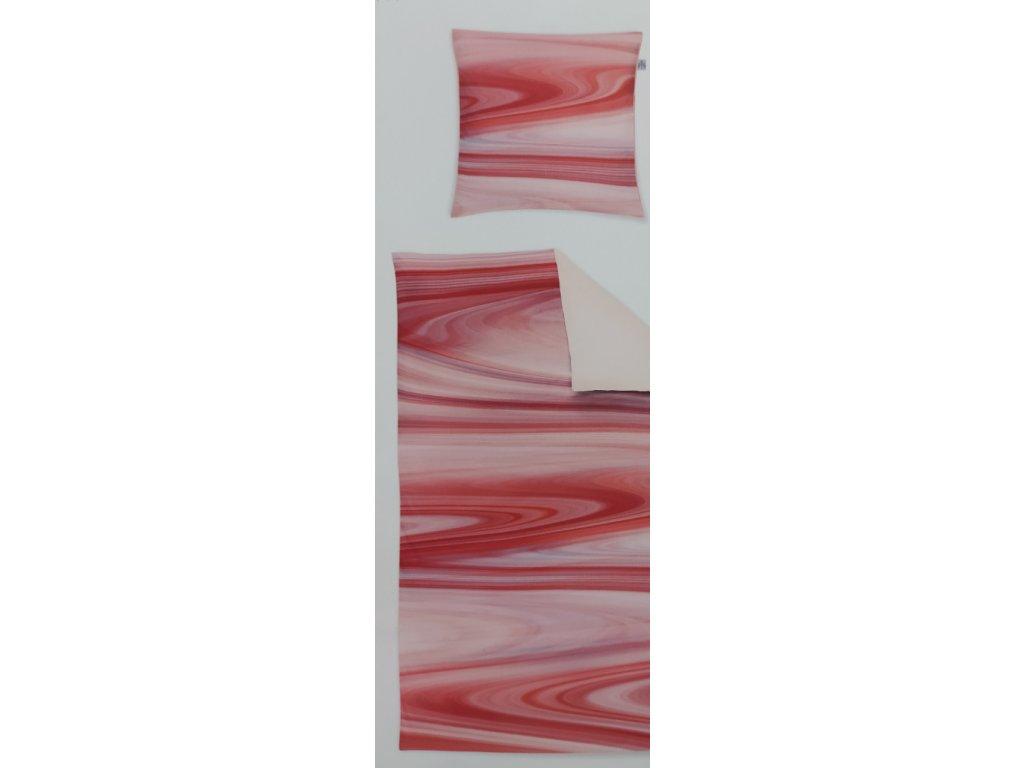 Povlečení ložní mako satén červené vlny