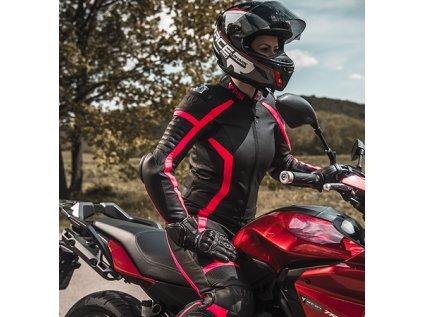 Kombinéza na motorku kožená ARSA LADY dámská černá/žlutá