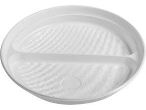 Talíř dělený na 2 porce, bílý PP, Ø 22 cm
