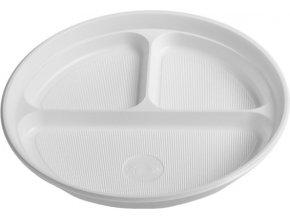 Talíř dělený na 3 porce, bílý PP, Ø 22 cm