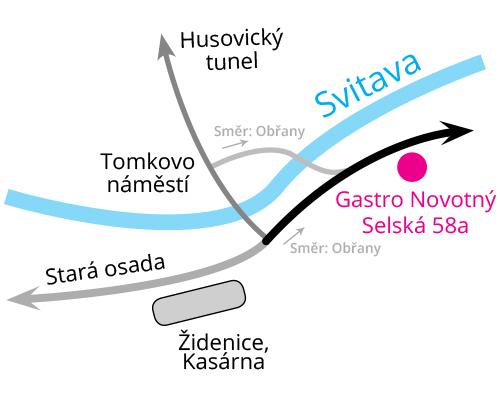 Gastro Novotný - Pobočka Brno - Obřany - Mapa