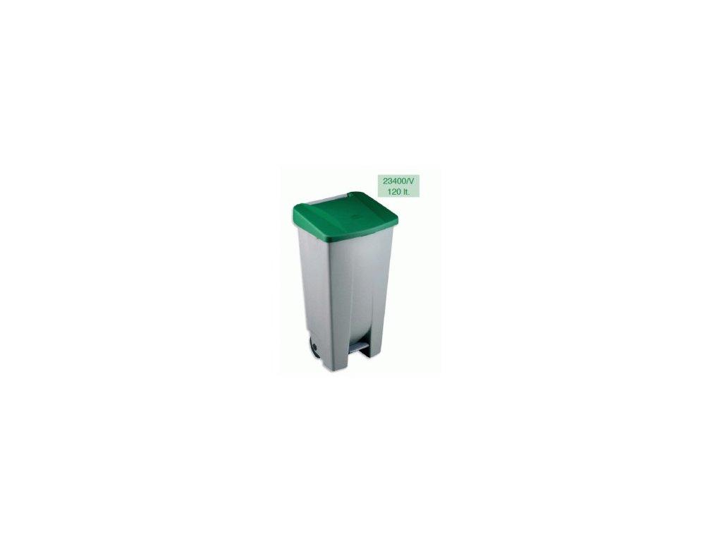 Odpadkový nášlapný+kolečka 120L  1423400
