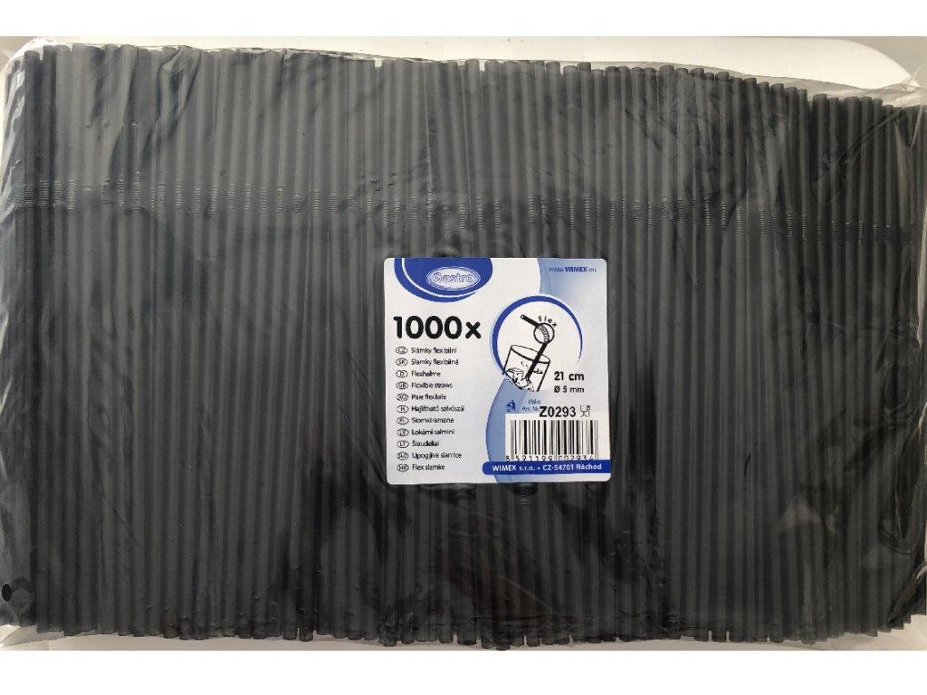 Slámky flexibilní černé 21 cm 5 mm 1000ks