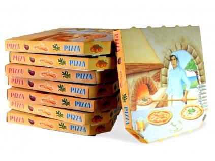 Krabice na pizzu 33x33x3cm potisk 100ks