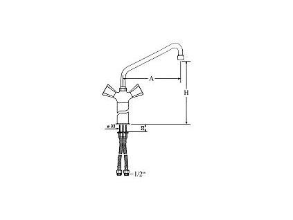 Baterie dřezová kohoutky pákové  otočení 90 délka 200mm  1/2 připojení