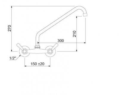 Baterie na stěnu keramická kartuš rozteč 150mm 1/2 připojení délka 300mm