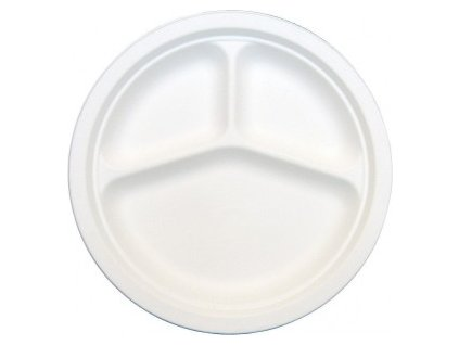 Talíř dělený na 3 porce BIO cukrová třina 26 cm 50 ks  0141028