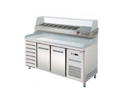 Pizza stůl chladící s vitrínou +šuplíky 7  206140