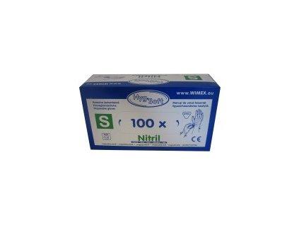 Rukavice nitrill. bílé, nepudr. S 100ks  0168150