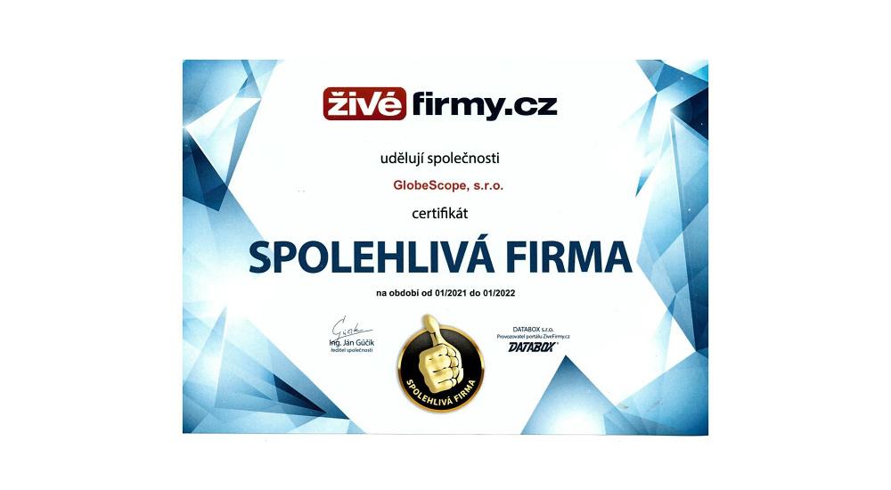 Spolehlivá firma certifikát