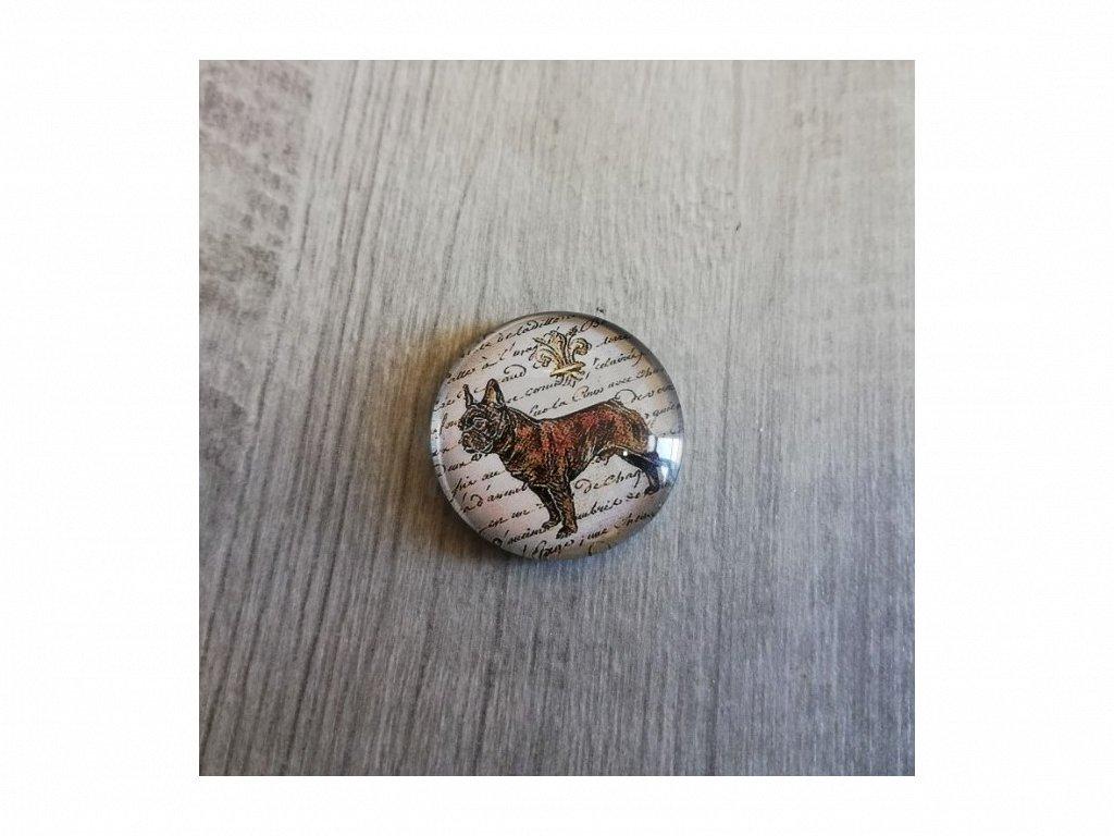 Magnet kulatý plemeno Francouzský buldoček 3 x 3 cm
