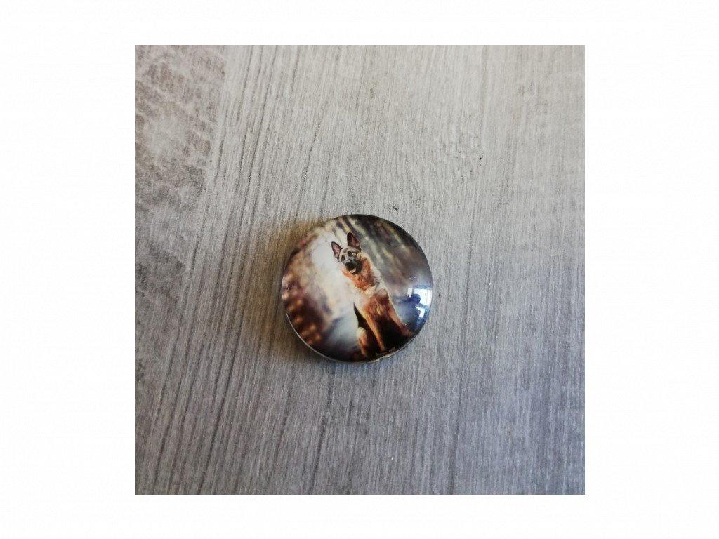 Magnet kulatý plemeno Německý ovčák 3 x 3 cm