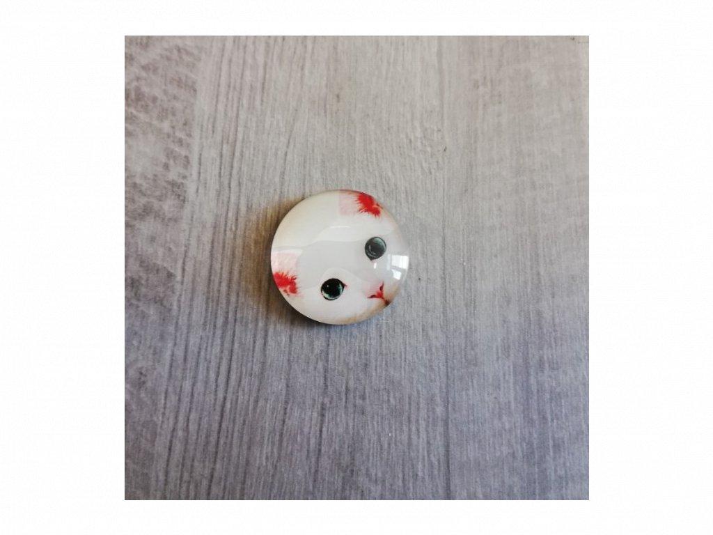 Magnet kulatý hlava kočky bílá 3 x 3 cm