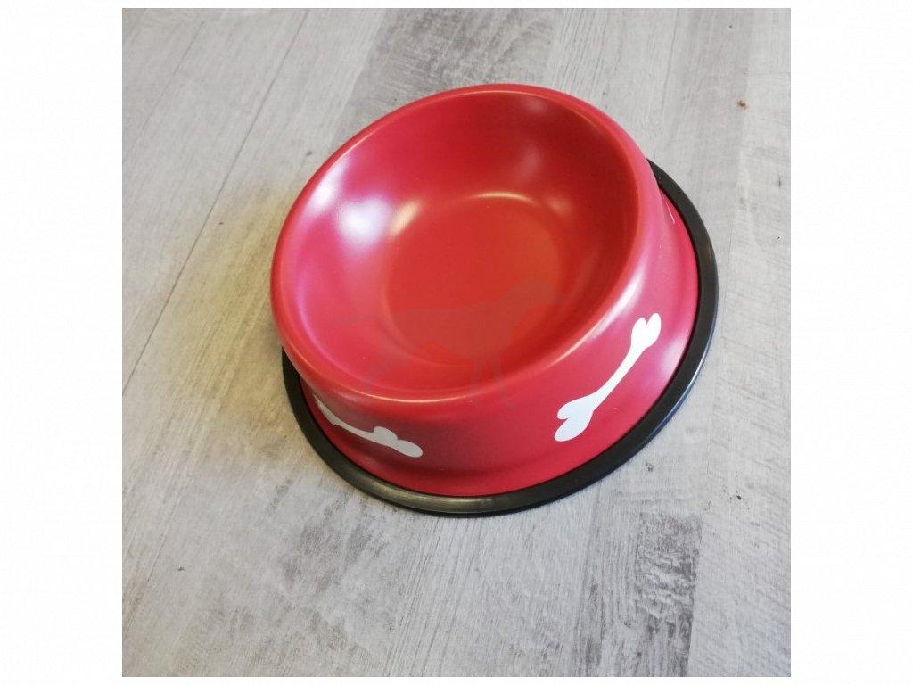 Miska kov 17 cm kost červená